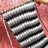 棒针多色双元宝花样围巾及接线换线方法视频教程 第41集