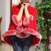 红云 棒针高领带袖洞的大红斗篷披肩编织教程