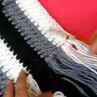 男士钩针英伦竖条围巾 第63集 编织围巾视频教程