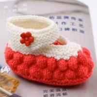 石榴鞋子织法 棒针枣形花宝宝鞋帽套装(2-1)宝宝鞋视频教程