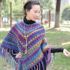 彩虹羊毛斗篷 段染钩针流苏斗篷披肩
