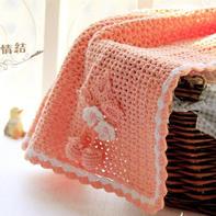 萌萌哒钩针云棉粉珊瑚小毯子