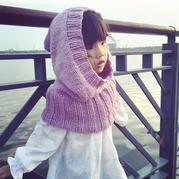 紫色蔷薇 棒针儿童连帽斗篷披肩