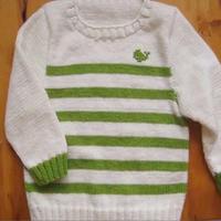 毛衣后背片织法及缝合 第33集-3 儿童棒针长袖条纹毛衣织法视频