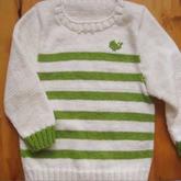 毛衣领口挑边及织法 第33集-5 儿童棒针长袖条纹毛衣织法视频