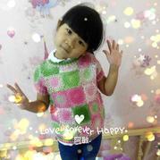 蜜桃熟了 5-6岁女童钩织结合拼花短袖春秋罩衫