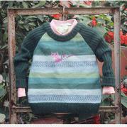 绿纹 棒针男童拼色圆领套头毛衣