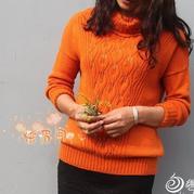 茵曼时尚棒针叶子花高领毛衣