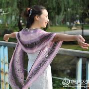 柔美钩针段染菠萝花长款披肩围巾