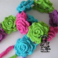 甜美钩针马卡龙风格花朵围巾 附多层立体花钩法
