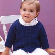 欧美款婴幼儿棒针双排扣短大衣