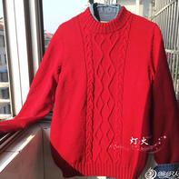 云柔棒针红菱格男大童圆领毛衣