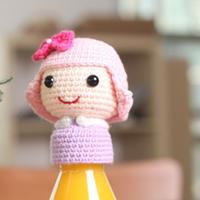 粉紫娃娃不倒翁女仆娃娃玩偶钩法图解教程