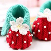 草莓鞋子  棒针宝宝草莓鞋帽套装 宝宝鞋织法视频教程