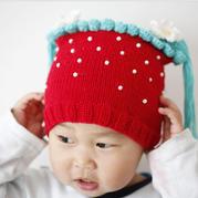 草莓帽子  棒针宝宝草莓鞋帽套装 宝宝帽织法视频教程