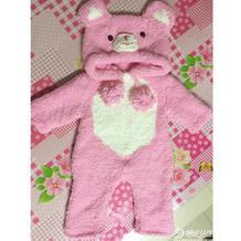 婴幼儿珊瑚绒棒针毛绒熊连体衣