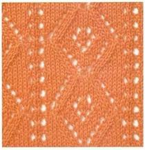 棒针镂空花之菱形结