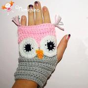 超简单超可爱造型钩针猫头鹰手套