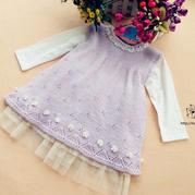 紫丁香 萌芽棒针女童背心裙