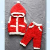 绒绒线宝宝连帽马甲圣诞风格款织法(3-2)宝宝棒针圣诞风格绒绒线套装