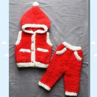 绒绒线宝宝裤子(3-3)宝宝棒针圣诞风格绒绒线套装
