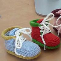 秋冬保暖棒针高筒系带宝宝鞋编织视频教程