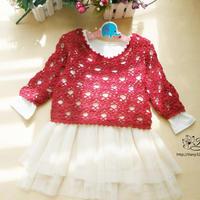 红树莓 婴幼儿春秋钩针镂空羊毛套衫