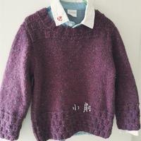 小情人 云点罗兰紫男童棒针圆领毛衣