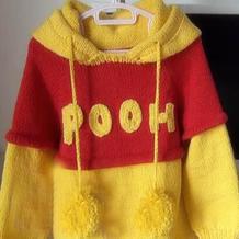 儿童卡通造型毛衣之棒针维尼熊宝宝毛衣视频教程