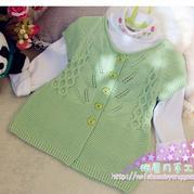 叶儿绿 婴幼儿棒针叶子花春秋短袖开衫