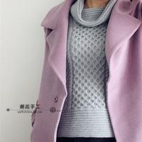 清荼 灰色复古花纹棒针高领毛衣