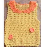 娃娃领小翻领儿童钩针套头背心(2-2)零基础钩织儿童毛衣