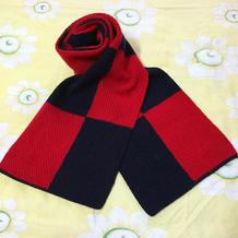 简洁经典易织棒针编织男士拼色围巾