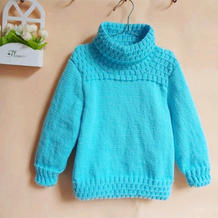 漂亮实用儿童棒针高领毛衣(3-1)儿童毛衣视频教程