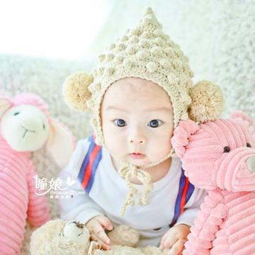 萌宝辣椒帽 婴幼儿尖顶系带钩针帽子