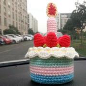可爱钩针生日蛋糕 钩针蜡烛草莓奶油蛋糕图解