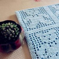 小熊出没 萌芽蓝色婴儿毯钩针方格编小熊毯