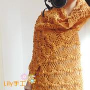 野百合 钩针姜黄色百搭羊毛围巾