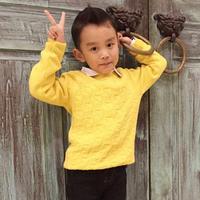 冬日暖阳 萌芽柠檬黄男童棒针插肩套头毛衣