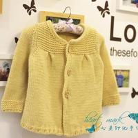 黄鹂 粗针织幼儿可爱棒针羊毛开衫大衣