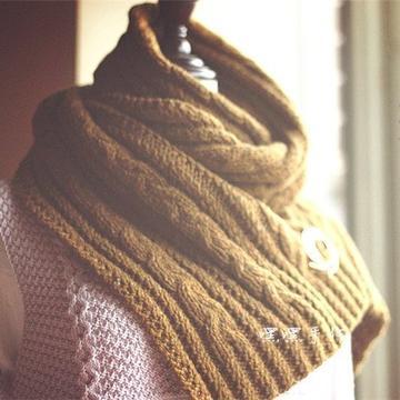 暖金菊 云点棒针温暖大围巾