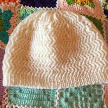 小七同款棒针阿尔巴尼亚针白色帽子