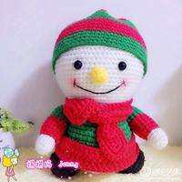 钩针圣诞风格雪人娃娃玩偶编织说明 圣诞风格编织物