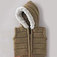 时尚大方儿童毛领带帽棒针马甲视频教程