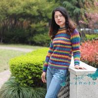 往事 彩虹段染女士棒针复古麻花羊毛衫