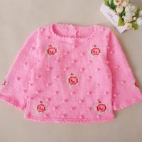 儿童棒针复古玫瑰小花套头毛衣(3-1)宝宝毛衣编织视频教程