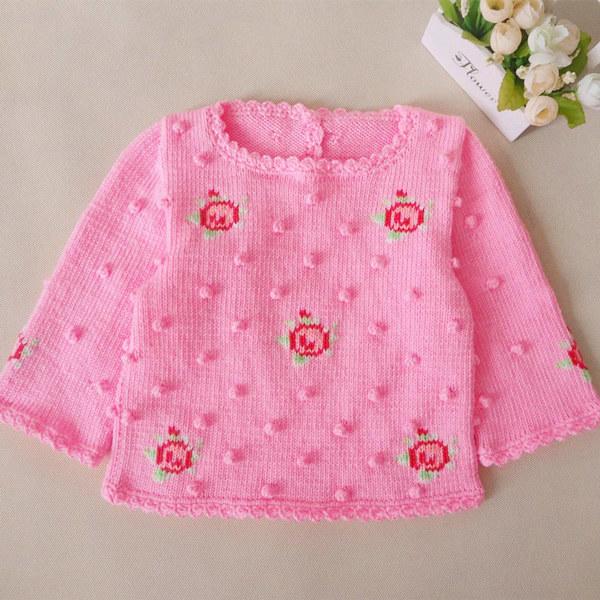 儿童棒针复古玫瑰小花套头毛衣(3-1)宝