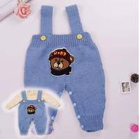婴幼儿手工编织背带裤系扣开裆裤织法 背带裤两件套套装视频教程(4-1)