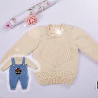 婴幼儿心形棒针套头毛衣编织视频 背带裤两件套套装视频教程(4-2)