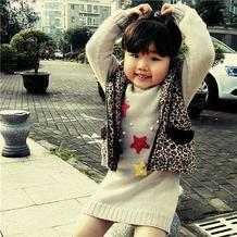 小星星 萌芽机织女童星星图案长毛衣(LK150编织机机织作品)